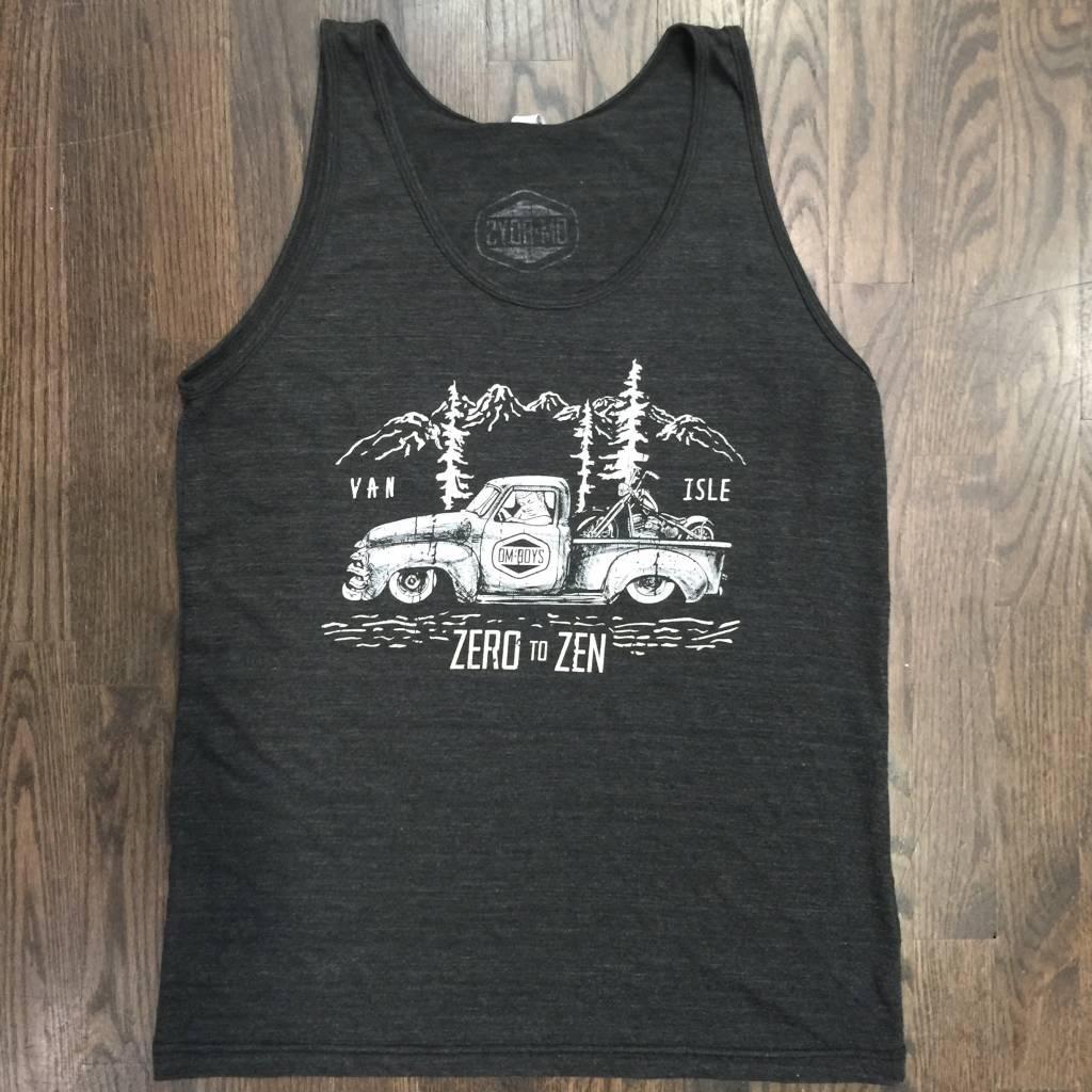 BW105-CHAR-ZEN - Om Boys - Mens Tri-Black Tank Tops
