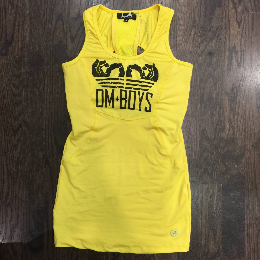 BY082 - La Society - Om Boys -Yellow Racer-Back Tank Top