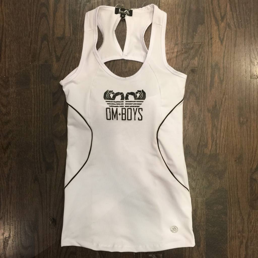 BY083 - La Society - Om Boys - White/Black w/Piping Tank Top