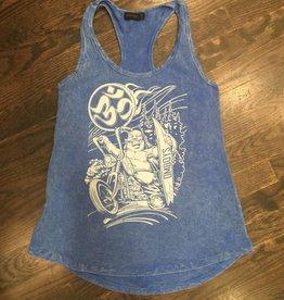 Womens - Om Boys - Acid Wash Blue Tank Top - Happy Buddha