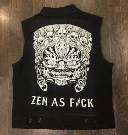 Womens - Om Boys - Denim Vest - Black Mahakala Patch