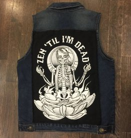 Womens - Om Boys - Denim Vest - Black Skeletom Patch