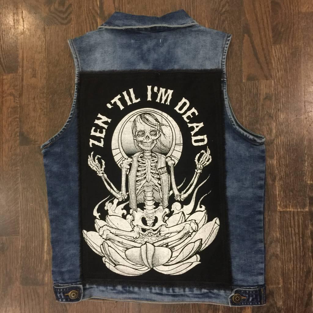 Womens - Om Boys - Denim Vest - Black Skeletom Patch