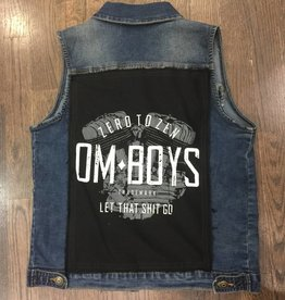 Womens - Om Boys - Denim Vest - Black Let That Shit Go Patch