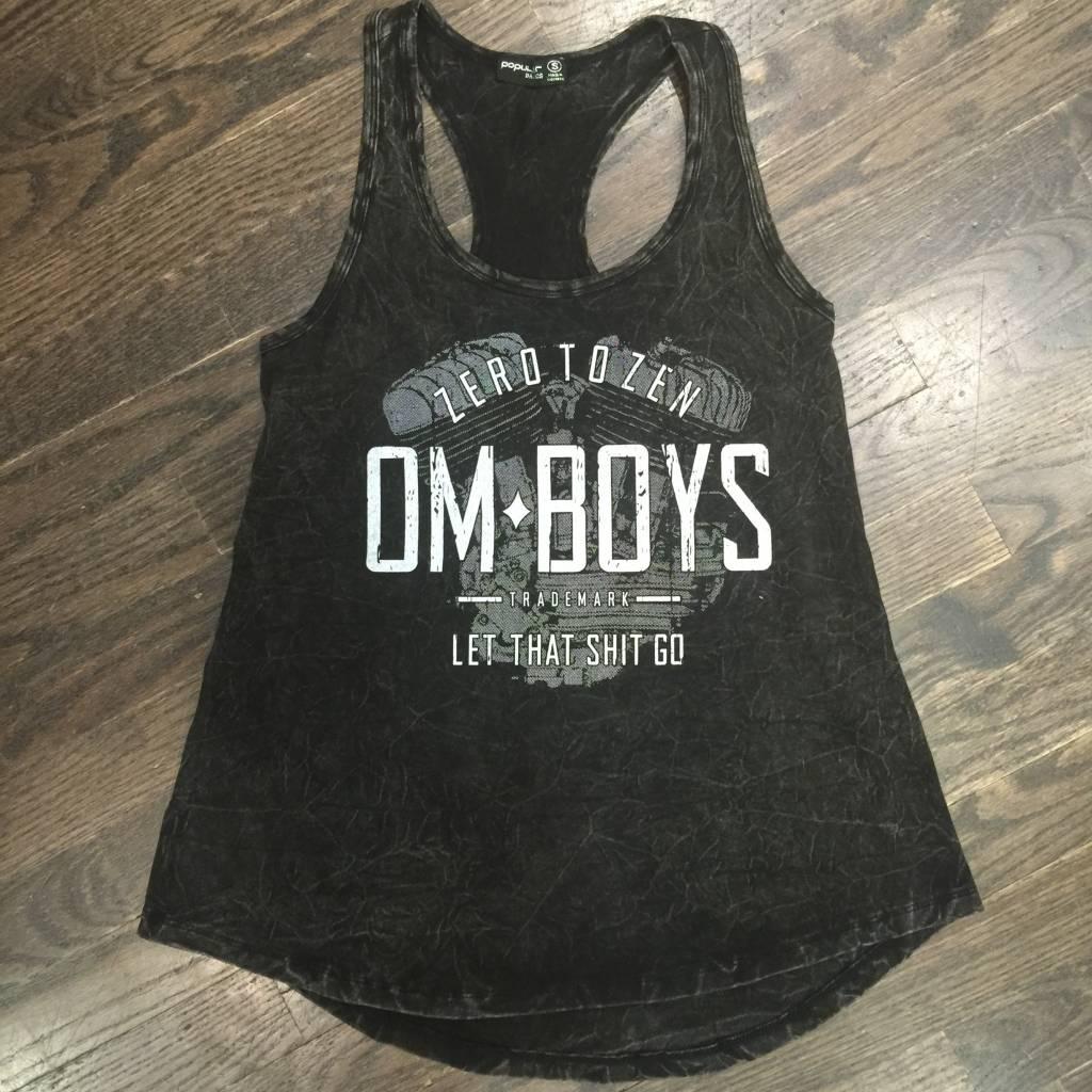 Womens - Om Boys - Acid Wash Black Tank Top - Let That Shit Go