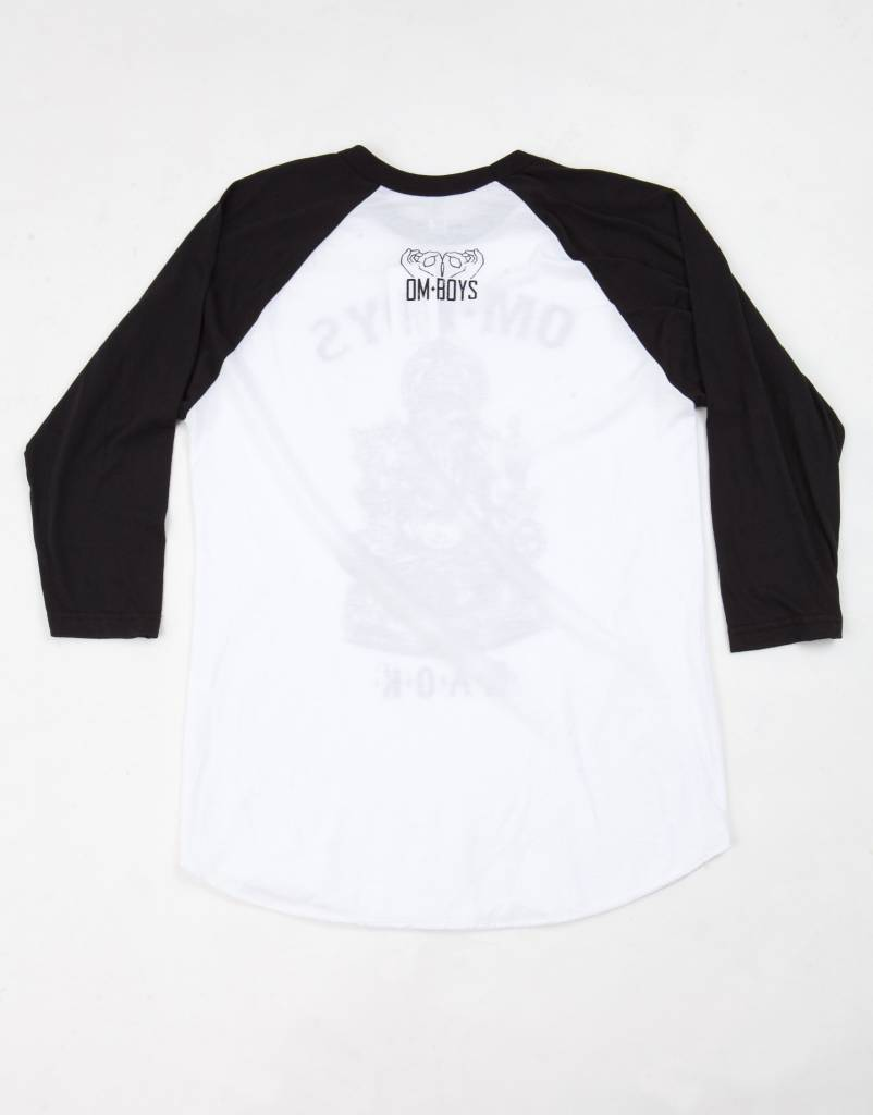 BL145-BU - Om Boys - White/Black Baseball T-Shirts