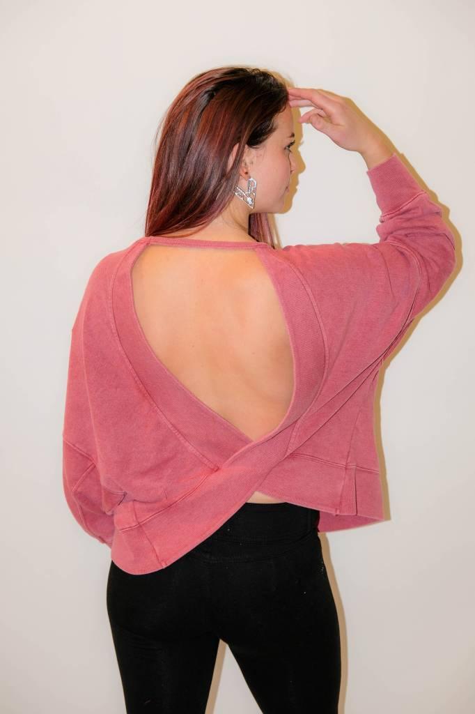CZ51 - LoveStitch -  Terry Oversized Open Back Sweater