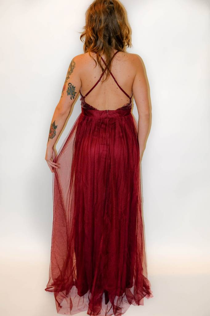 CZ26 - Luxxel - Sequinned Bust Mesh Gown