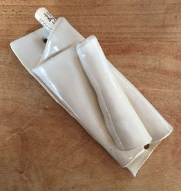 Hand-made ceramic mezuzah by Avigail Ruth - speckled eggshell