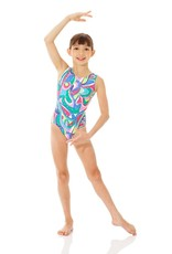 Mondor Printed Metallic Tank Gymnastics Leotard