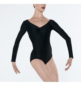 Wear Moi Saba Long sleeved microfiber leotard, pinch front and back