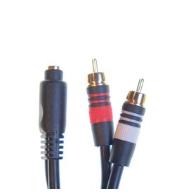 "RENTAL 1/8"" miniplug (F) to stereo RCA (M) adapter rental."