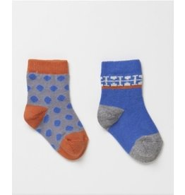 ecobaby PACT - Socks 2pk - Electric Blue Fun - 0-6mo