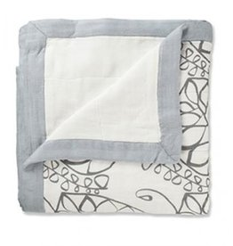 ecobaby Aden + Anais - Moonlight - Leafy Solid Grey Bamboo Dream Blanket