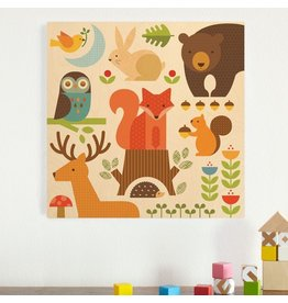 ecobaby Petit Collage - Square Jumbo Wood Panel, Forest  Parade