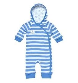 Under the Nile Under the Nile- Lined Hooded Romper, standard blue stripe