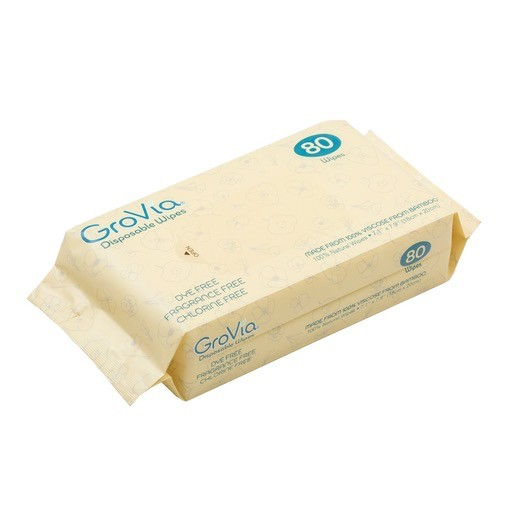 GroVia Disposable WIpes, 100% viscose from bamboo