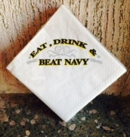"""Eat, Drink and Beat Navy"" Napkins"
