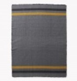Military Gray with Gold and Black Stripe Cadet Twin Blanket (64 X 90)