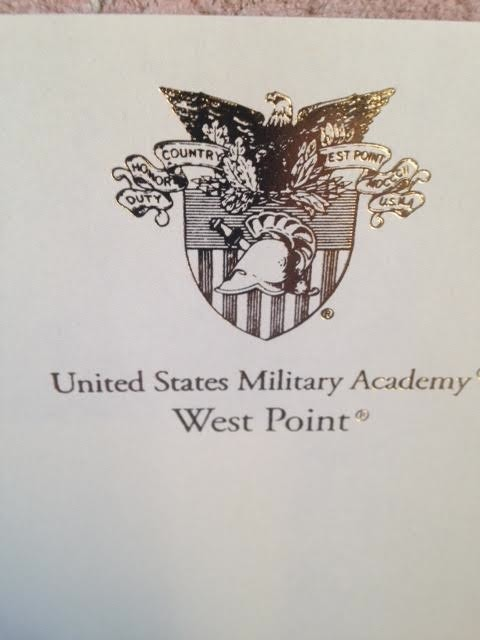 "Boxed Set of Ivory Stationery with USMA Crest and ""WEST POINT"" in Gold Foil"