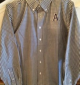 "Men's Gingham Button Down Oxford with Embroidered ""A"""