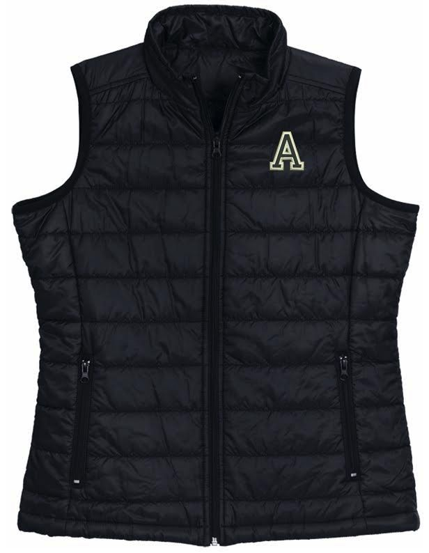 "Classic Quilted Vest in Black with Army ""A"""