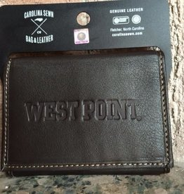 Trifold Contrast Stitch WEST POINT Wallet - Brown