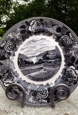 Trophy Point China Dinner Plate in Gray/Black on White