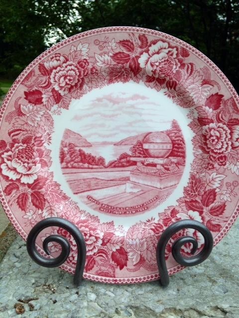 """Trophy Point""/West Point China Dinner Plate/Rose"