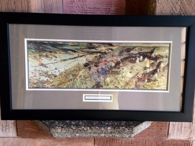 Framed D-Day Omaha Beach Print. By: William Linzee Prescott