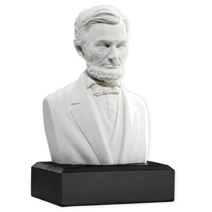 Educational text provided on base of bust.
