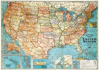USA Map Gift Wrap Sheet(19.5X27in)
