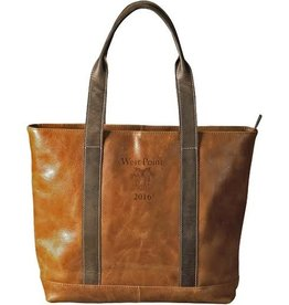 Leather Tote in Tan/Optional Class Year