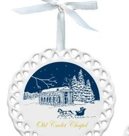 Old Cadet Chapel Porcelain Christmas Ornament (D. Remine)