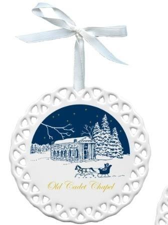 Old Cadet Chapel Porcelain Christmas Ornament (D. Remine)