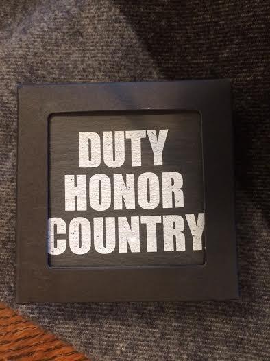 Slate Coasters: Duty, Honor, Country