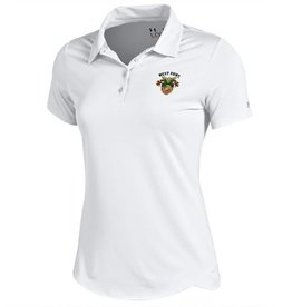 Under Armour Women's Polo with USMA Crest, Wht