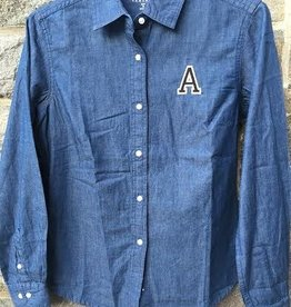 "Women's Denim Long Sleeve Shirt with Block ""A"""