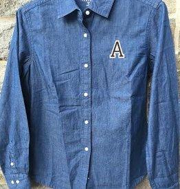 """Women's Denim Long Sleeve Shirt with Block """"A"""""""