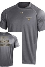 """West Point"" and Athletic Shield on left chest area/front of shirt. ""Duty, Honor, Country"" on back of shirt."