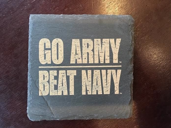 Individual GO ARMY BEAT NAVY Slate Coaster