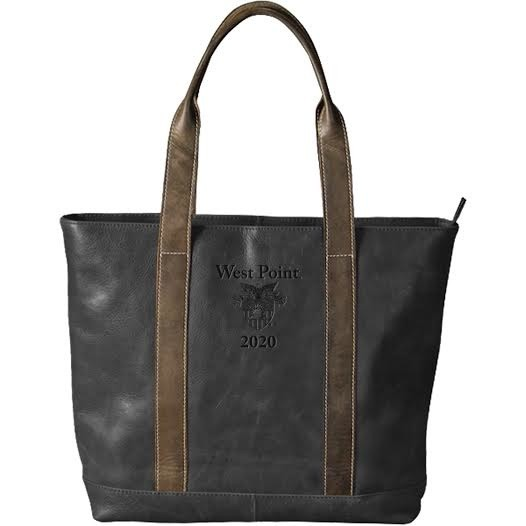 Leather Tote (Black) w/ Crest, Optional Class Year (Drop Ship)