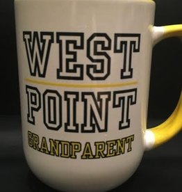 """West Point Grandparent"" on one side of Mug and the USMA Crest is on the other side. Handle and Interior of Mug are Yellow."