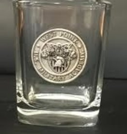 Square Shot Glass with Pewter Crest