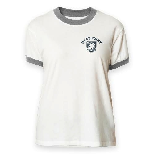 Classic White T-Shirt with Heather Gray band around neck and sleeves.
