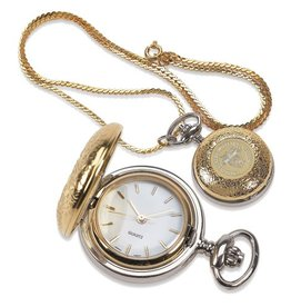 Woman's Locket Watch on Chain in Gold with USMA Crest