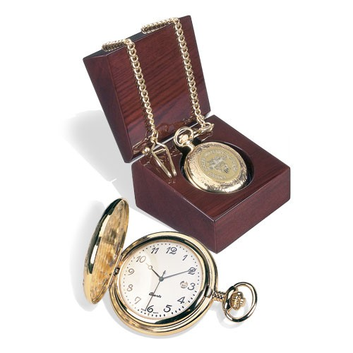 USMA Pocket Watch, Gold, with USMA Crest and Chain