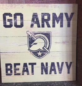 """GO ARMY/Beat Navy,"" Wooden Plank Square (17X17 inches)"
