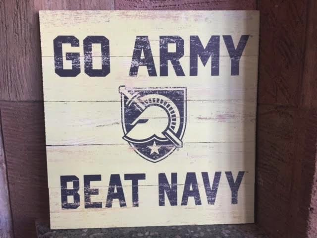 """""""GO ARMY/Beat Navy,"""" Wooden Plank Square (17X17 inches)"""