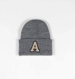 "Toddler Block ""A"" Cuff Beanie in Gray"